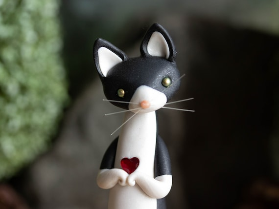 Tuxedo Cat Carrying a Heart - Black and White Cat Figurine by Bonjour Poupette