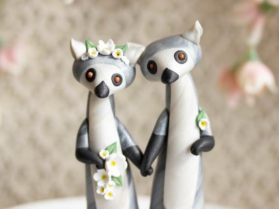 Lemur Wedding Cake Topper - Ring-tailed Lemurs by Bonjour Poupette