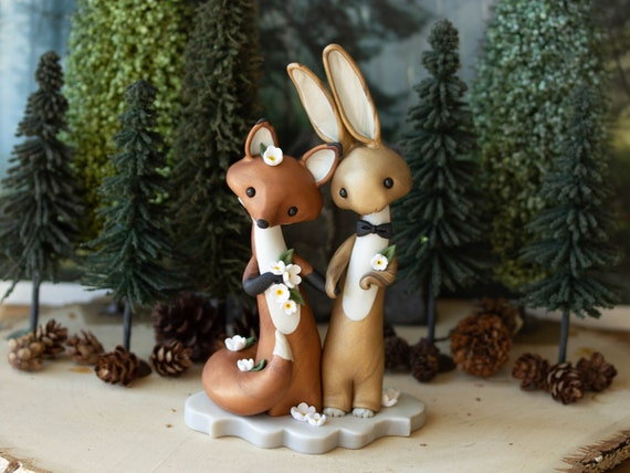 Fox and Hare Wedding Cake Topper