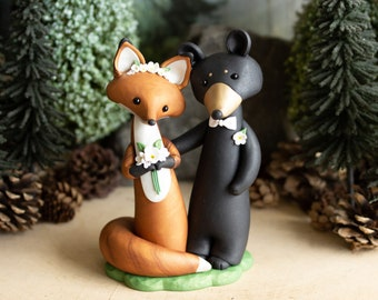 Fox and Bear Wedding Cake Topper - Red Fox and Black Bear Sculpture