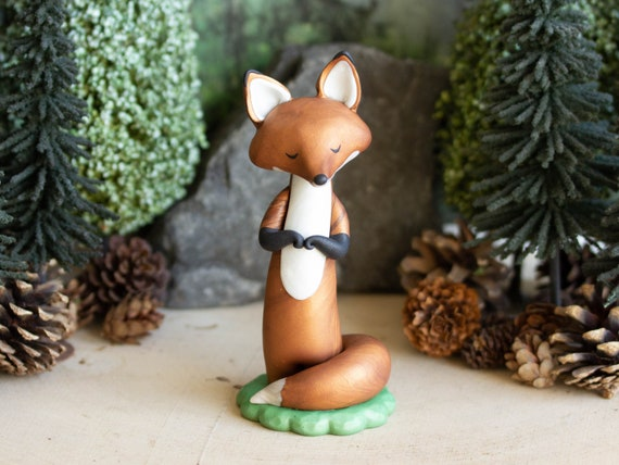 Red Fox Figurine - Wishing Fox - Red Fox Sculpture - Red Fox Spirit