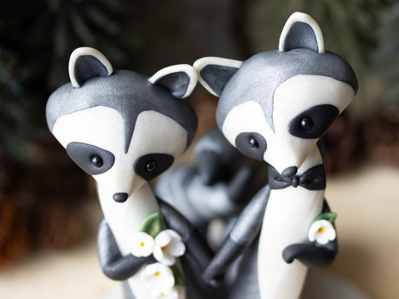 Handmade Raccoon Wedding Cake Topper