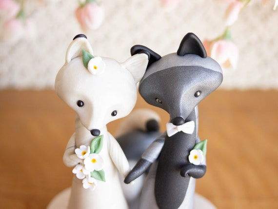 Silver Fox and Arctic Fox Wedding Cake Topper