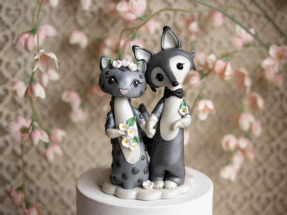 Snow Leopard and Gray Wolf Wedding Cake Topper