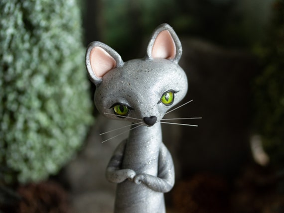 Silvery Grey Cat Figurine - Sister of the Lileen Cat Sculpture