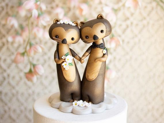 Sea Otter Wedding Cake Topper - Sea Otter Sculpture by Bonjour Poupette