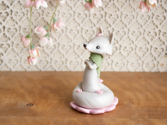 Sakura Gazing Fox - White Fox with Cherry Blossoms