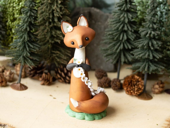 Red Fox Making a Daisy Chain - Fox Figurine