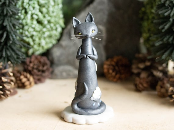 Raincloud Kitten - Grey Cat Lady - Cat Figurine by Bonjour Poupette