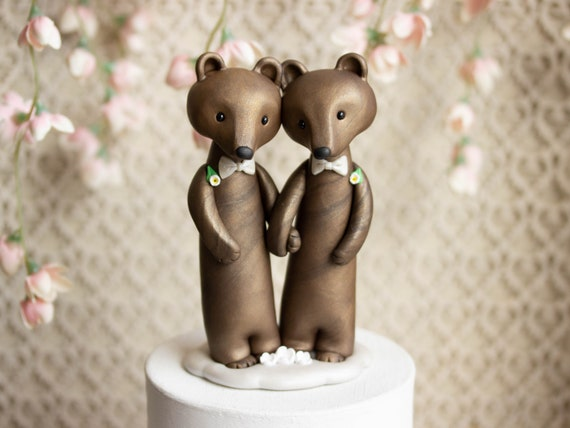 Bear Grooms - Brown Bear Wedding - Gay Wedding Cake Topper