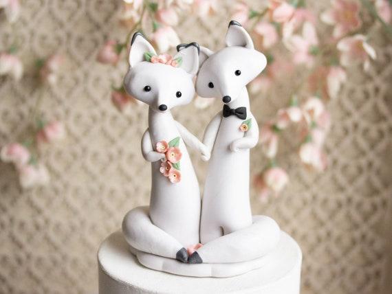 Arctic Fox Wedding - White Wedding Cake Topper - Winter Wedding