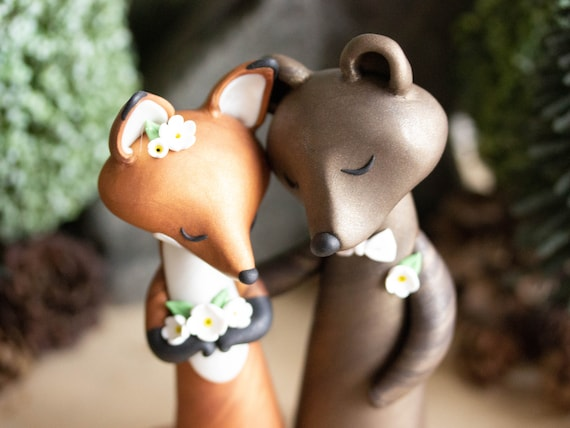Fox and Bear Wedding Cake Topper - Red Fox and Brown Bear Sculpture