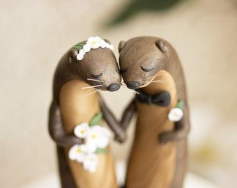 Wishing River Otters - River Otter Sculpture - River Otter Wedding Cake Topper