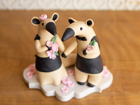 Tamandua Anteater Wedding Cake Topper with Pink Sakura Blossoms