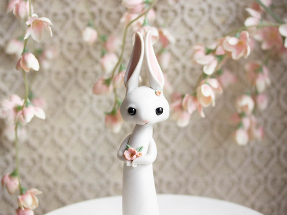 White Rabbit Figurine - Spring Hare Votive - Easter Bunny