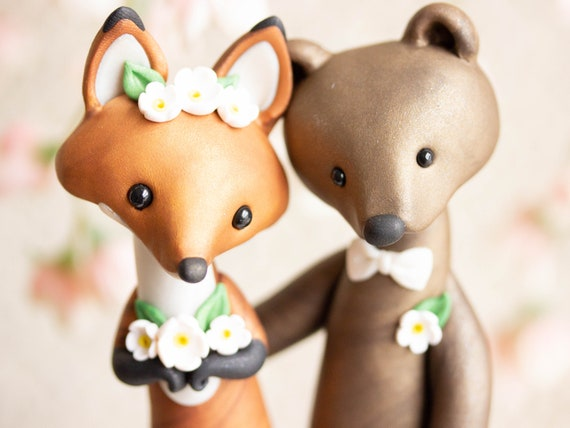 Fox and Bear Wedding Cake Topper - Red Fox and Brown Bear Sculpture by Bonjour Poupette