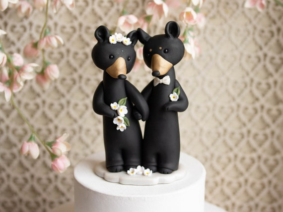 Black Bear Wedding Cake Topper