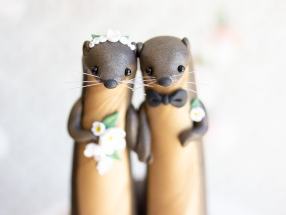 River Otter Wedding Cake Topper - River Otter Sculpture