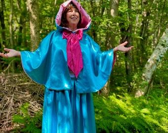 "Teal Satin Fairygodmother  24"" Cape and Skirt"