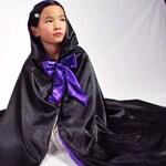 Girls Hooded Cloak, Black and Purple
