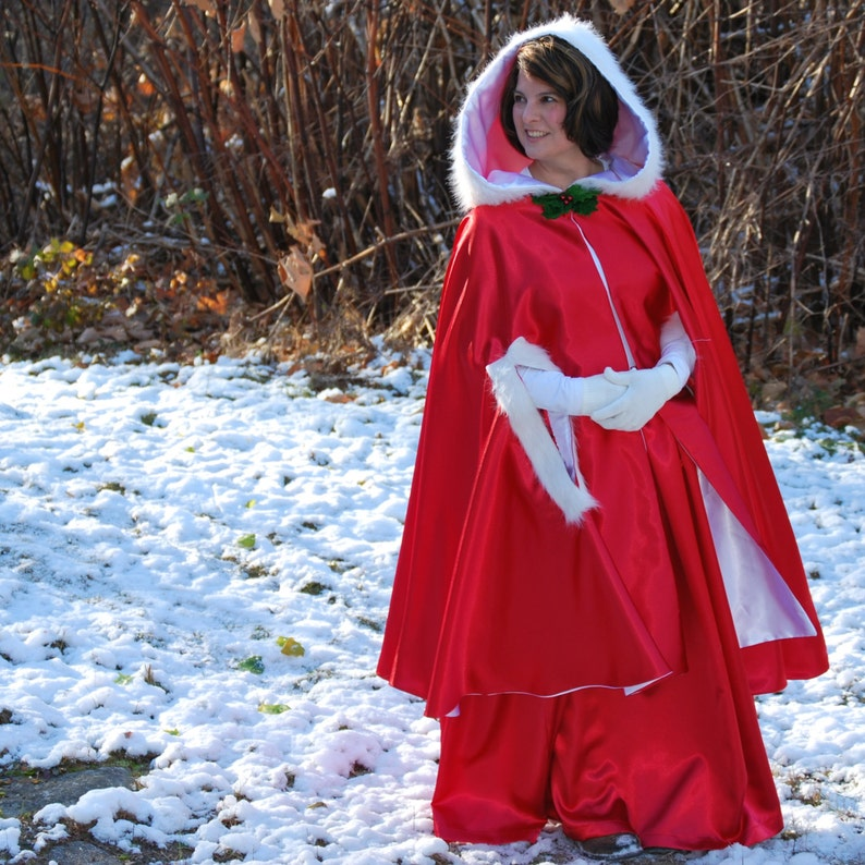 Mrs Claus Costume Red Cape and Skirt image 0