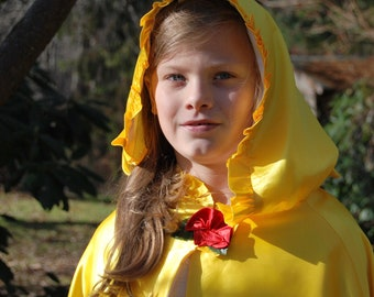 Girls Yellow Princess Cape, Belle Inspired