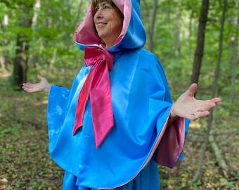 "Blue Fairy Godmother Costume  24"" Waist Length Cape and Skirt"