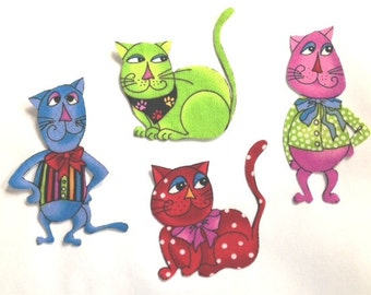 Four Adorable Iron On CAT Appliques*Handmade*LORALIE Fabric/258