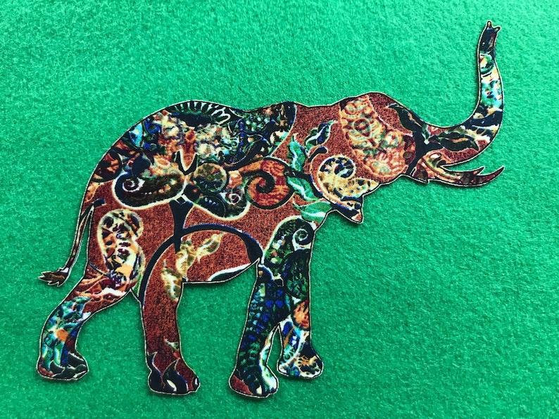 Large Iron On ELEPHANT Applique*Handmade*Dan Morris /'Caravan/' Fabric361