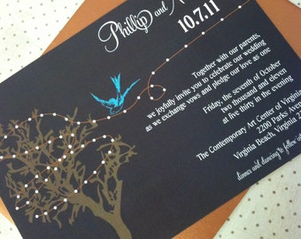 """Rustic Tree and Sparrow Wedding Invitation Suite - """"The Claire"""""""