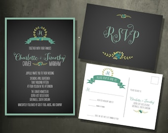 Chalkboard Wreath Invitation Suite with Postcard RSVP - New This Season