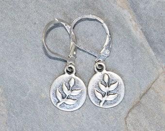 Silver Leaf Earrings, Leaf Jewelry, Modern Earrings, Classic Earrings, Simple Earrings, Handmade Earrings, Plated Silver Earrings