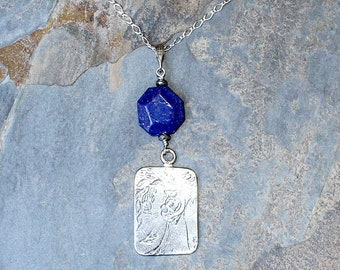Mother's Day Necklace, Lapis Necklace, Sterling Silver Necklace, Blue Necklace, Blue Stone Necklace, Mother Child, Mother's Day Gift