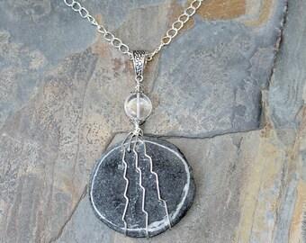 Beach Rock Necklace, Wire Wrap Necklace, Ocean Necklace, Natural Stone Necklace, Earthy Rock Necklace, Bohemian Necklace, Long Necklace