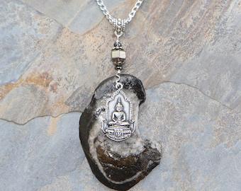 Buddha Necklace, Beach Stone Necklace, Yoga Necklace, Hematite Necklace, Meditation Necklace, Gray Necklace, Natural Stone Necklace, For Her