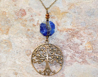 Tree of Life Necklace, Lapis Lazuli Necklace, Wire Wrapped Necklace, Blue Necklace, Natural Stone Jewelry, Blue Tree of Life Necklace