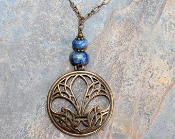 Fleur De Lis Necklace, Blue Necklace, Lapis Lazuli Necklace, Natural Stone Necklace, Bronze Necklace, Handmade Necklace, French Necklace