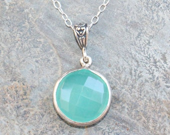 Chalcedony Necklace, Blue Gemstone Necklace, Aqua Blue Necklace, Chalcedony Jewelry, Natural Stone Necklace, Bohemian Necklace, For Her