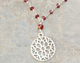 Flower Necklace, Sterling Silver Necklace, Garnet Necklace, Natural Stone Necklace, Burgundy Necklace, Dark Red Necklace, Garnet Jewelry