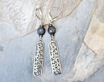 Labradorite Earrings, Dangly Earrings, Leaf Earrings, Filigree Earrings, Gray Gemstone Earrings, Natural Stone Earrings,  Bohemian Earrings