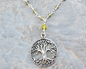Tree of Life Necklace, Sterling Silver Necklace, Peridot Necklace, Natural Stone Necklace, Green Gemstone Necklace, Light Green Necklace