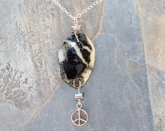 Beach Rock Necklace, Peace Sign Necklace, Sterling Silver Necklace, Black and White Necklace, Peace Necklace, Natural Stone Necklace