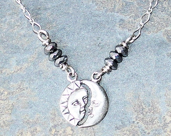 Sun Moon Necklace, Sterling Silver Necklace, Celestial Necklace, Celestial Jewelry, Sun Moon Jewelry, Hematite Necklace, Boho Necklace
