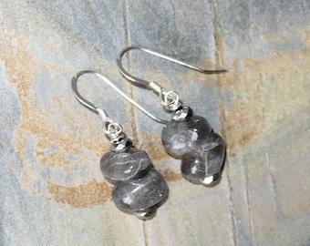 Labradorite Earrings, Natural Stone Earrings, Sterling Silver Earrings, Gray Earrings, Handmade Gray Stone Earrings, Gemstone Earrings