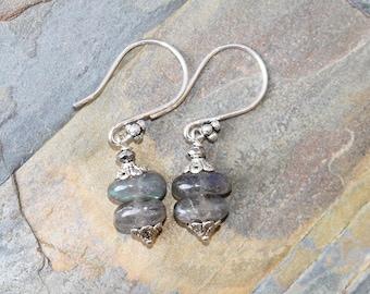 Labradorite Earrings, Natural Stone Earrings, Silver Earrings, Gray Earrings, Handmade Earrings, Gray Stone Earrings, Gemstone Earrings
