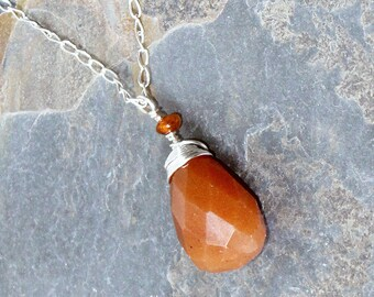 Orange Necklace, Wire Wrapped Necklace, Red Aventurine Pendant, Natural Stone Necklace, Silver Wire Wrapped, Amber Bead, Handmade Necklace
