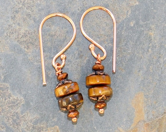 Tiger Eye Earrings, Copper Earrings, Bohemian Earrings, Natural Stone Earrings, Summer Earrings, Brown Earrings, Tiger Eye Jewelry, For Her