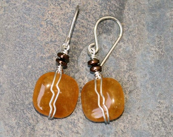 Wire Wrapped Earrings, Tangerine Orange Earrings, Natural Stone Earrings, Orange Jade Earrings, Bohemian Earrings, Spiral Earrings, Handmade
