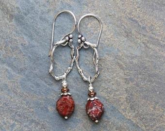 Natural Stone Earrings, Rustic Hoop Earrings, Rust Brown Stone Earrings, Natural Stone Earrings, Red Earrings, Handmade Earrings, Red Stone