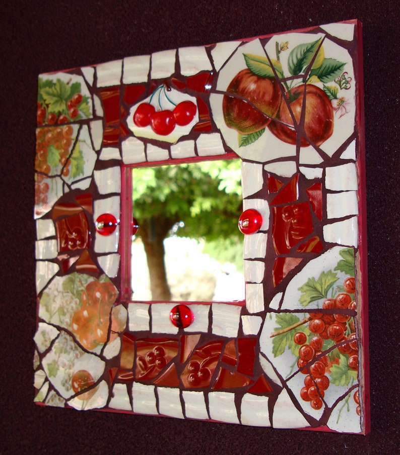 -Tile Assortment with Cherries Theme Mosaic Supplies Assorted CHERRY Tiles Set for Mosaics INSTANT COLLECTION